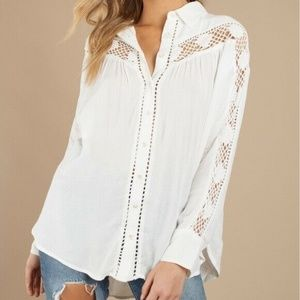 Free People Katie Bird ButtonDown Shirt Size Small